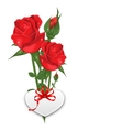 Bouquet Beautiful Flowers Roses Happy Valentines vector image