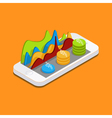 Mobile phone with graphs and reports vector image
