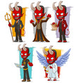 cartoon devils and evil angel character set vector image