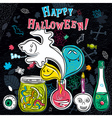 Halloween greeting card with ghost bottle vector image