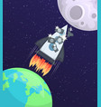 a space rocket with tourists and cameras flying vector image vector image