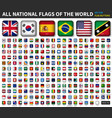 all national flags of the world shiny convex vector image vector image