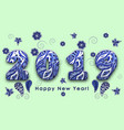 blue patterned painted figures 2019 happy new vector image vector image