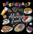 breakfast time poster vector image vector image