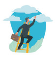 businessman climbing on ladder success and career vector image