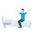 cartoon character man gets out of bed vector image
