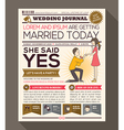 Cartoon Newspaper Journal Wedding Invitation vector image