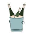 champagne bottles on ice bucket vector image vector image