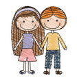 color pencil drawing of caricature couple kids in vector image vector image