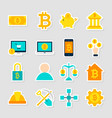 cryptocurrency bitcoin stickers vector image