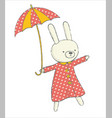 cute bunny with umbrella vector image