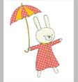 cute bunny with umbrella vector image