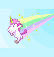 cute running little unicorn background vector image vector image