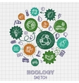 Ecology hand drawing integrated icons vector image vector image