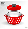 enameled white saucepan with lid realistic vector image vector image