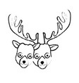 figure cute elk head animal couple together vector image vector image