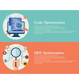 Flat computing background Code and SEO vector image