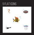 flat icon sea set of hippocampus seafood scallop vector image vector image