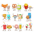 food kawaii cartoon expression characters vector image vector image