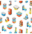 game machine 3d seamless pattern background vector image