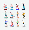 group of people in skates and skateboards vector image vector image