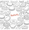 hand drawn doodle set with bakery elements vector image vector image