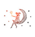 hand drawn halloween magic girl sitting on moon vector image vector image