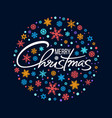 merry christmas handwritten lettering white text vector image