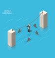 obstacles overcoming flat isometric concept vector image vector image