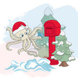 octopus mail new year color vector image