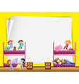 Paper design with kids in bunkbed vector image vector image