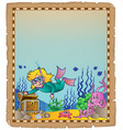 parchment with underwater theme 2 vector image
