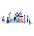 people moving around of huge heap of gift boxes vector image