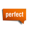 perfect orange 3d speech bubble vector image vector image