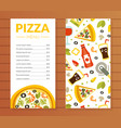 pizza menu template traditional italian cuisine vector image vector image