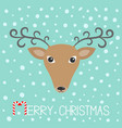 reindeeer head merry christmas candy cane cute vector image vector image
