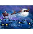 Santa Claus Flying on a Sleigh with Deer Christmas vector image vector image
