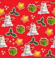 seamless christmas pattern red background vector image vector image