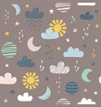 seamless pattern for children with sun moon vector image vector image