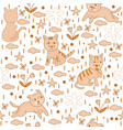seamless pattern yellow cats wallpaper background vector image vector image