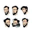 set emotions of a bearded man on a white vector image