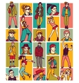 Set fashion people face and figures vector image vector image