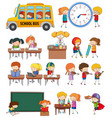 set of student activity vector image