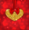 Shimmering Golden Heart with Red Ribbon vector image