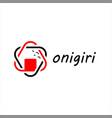 simple line art onigiri food logo vector image vector image