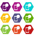 speech bubble on phone icon set color hexahedron vector image vector image