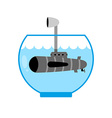 Submarine in Aquarium Periscope above water vector image vector image