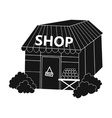 Supermarket icon in black style isolated on white vector image vector image