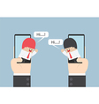 Two businessmen communicate on smartphone with spe