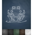 Two businessmen in boat icon Hand drawn vector image